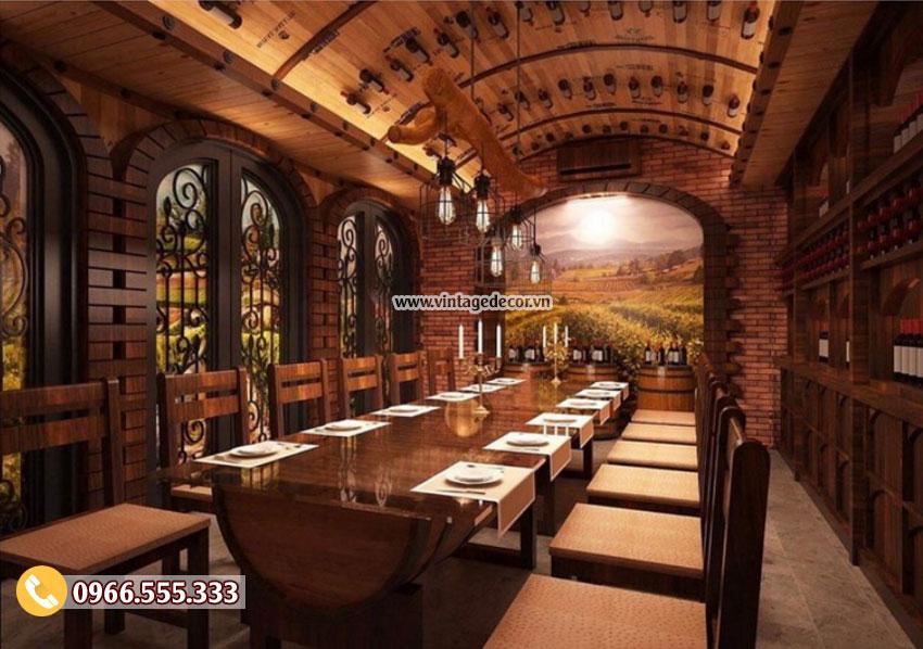 Mẫu thiết kế nhà hàng hầm rượu cổ điển BR43