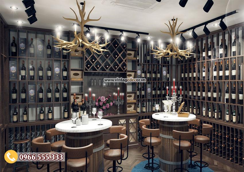 Mẫu phòng Vip nhà hàng rượu vang gỗ sồi BR39