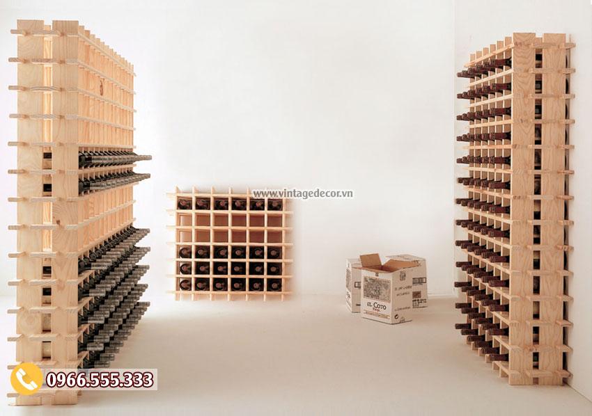 Mẫu kệ lưu trữ rượu vang gỗ thông nhập khẩu TBR47