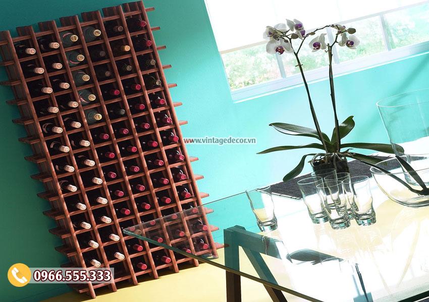 Mẫu kệ rượu vang độc đáo trang trí phong khách TBR52