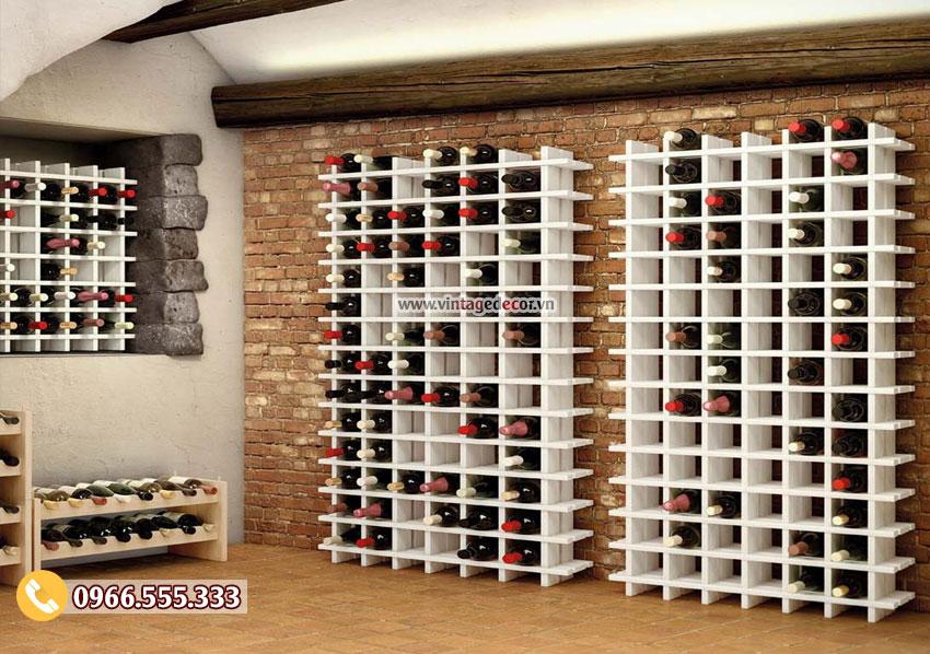 Mẫu kệ rượu vang trang trí cho hầm rượu TBR54