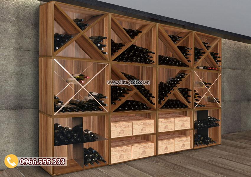 Mẫu tủ trưng bày rượu vang đẹp TBR37