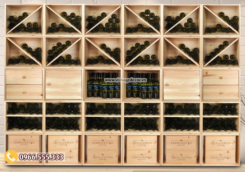 Mẫu kệ rượu vang trang trí phòng khách đẹp TBR45