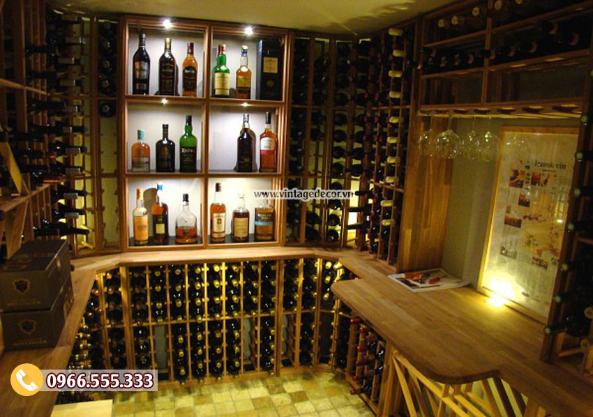 Mẫu hầm rượu thi công phong cách cổ điển đẹp HR91