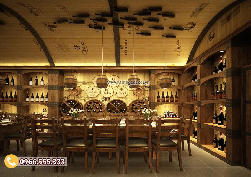 Mẫu thiết kế nhà hàng hầm rượu cổ điển BR48