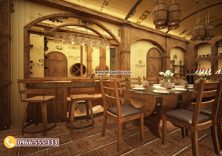 Mẫu thiết kế nhà hàng hầm rượu vang Vip BR49