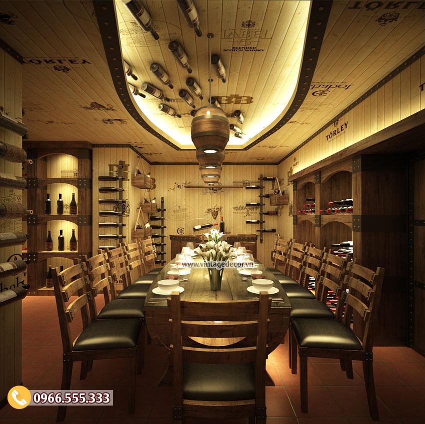 Mẫu thiết kế phòng Vip nhà hàng hầm rượu vang BR53