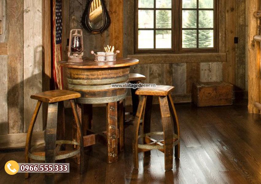 Mẫu bàn ghế thùng rượu gỗ sồi cổ điển DL28