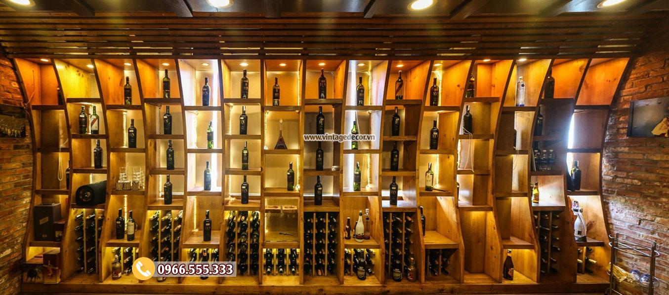 Thi công hầm rượu nhà hàng vintage BR81