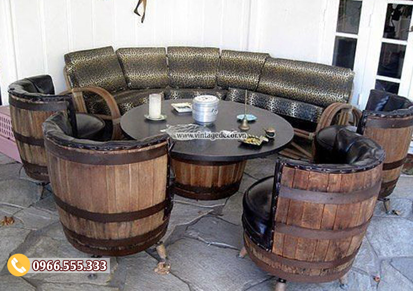 Mẫu bộ bàn ghế sofa tái chế trống thùng rượu vang DL43