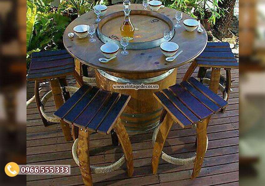 Mẫu bộ bàn ghế thùng trống rượu ngoài trời DL44