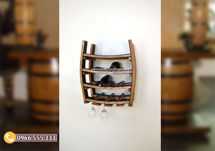 Mẫu kệ treo tường tái chế từ thùng rượu gỗ sồi DL35