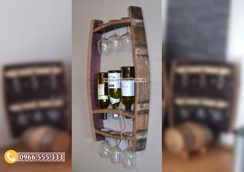 Mẫu kệ rượu từ thùng rượu tái chế KR31