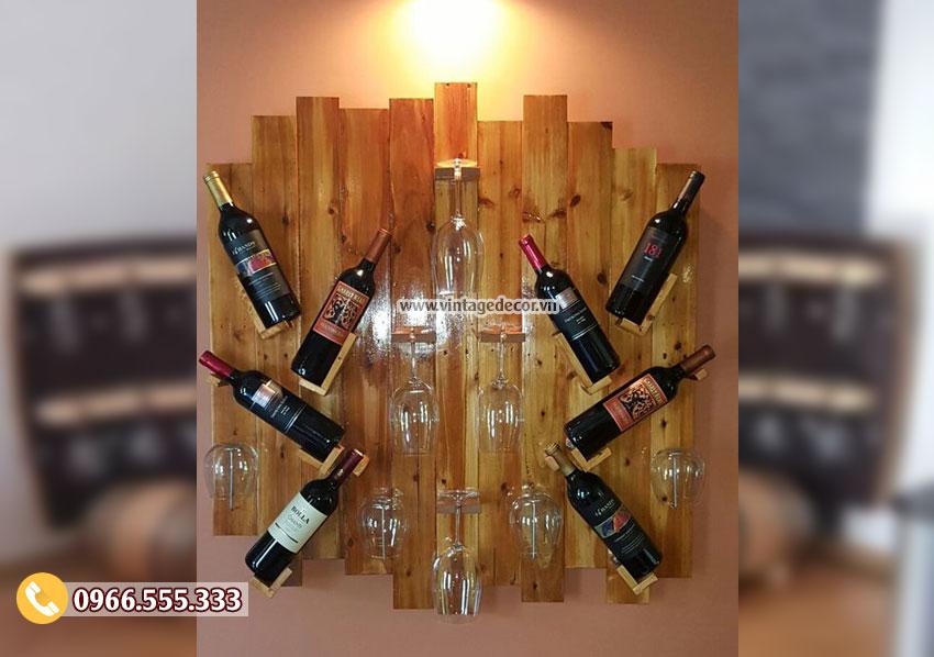 Mẫu kệ rượu trang trí gắn tường KR14