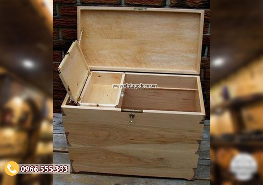 Mẫu rương gỗ lưu trữ đồ đa năng RG11