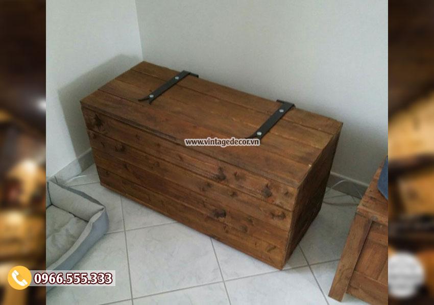 Mẫu rương gỗ thông đặt góc nhà đựng đồ RG24