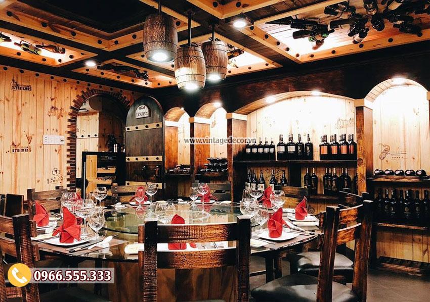 Mẫu thiết kế nhà hàng hầm rượu vang cổ điển BR94