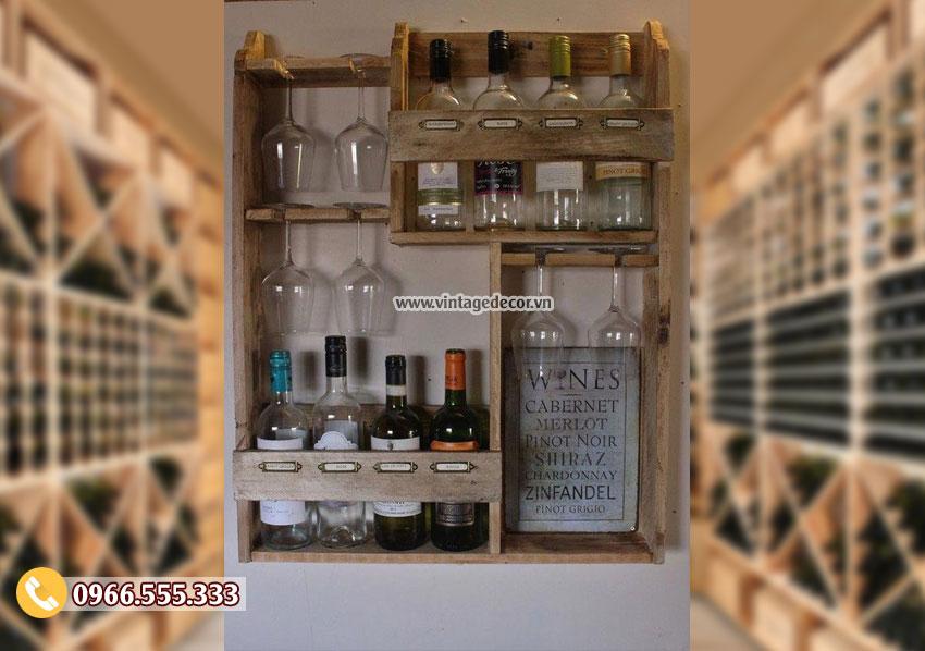 Mẫu kệ tủ rượutreo tường đẹp TBR113