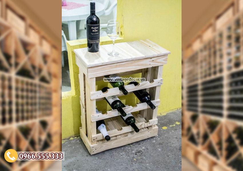 Mẫu kệ tủ rượu gỗ công nghiệp TBR122