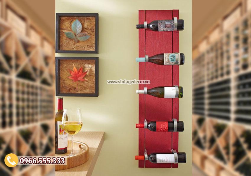 Mẫu kệ rượu vang trang trí phòng khách TBR126