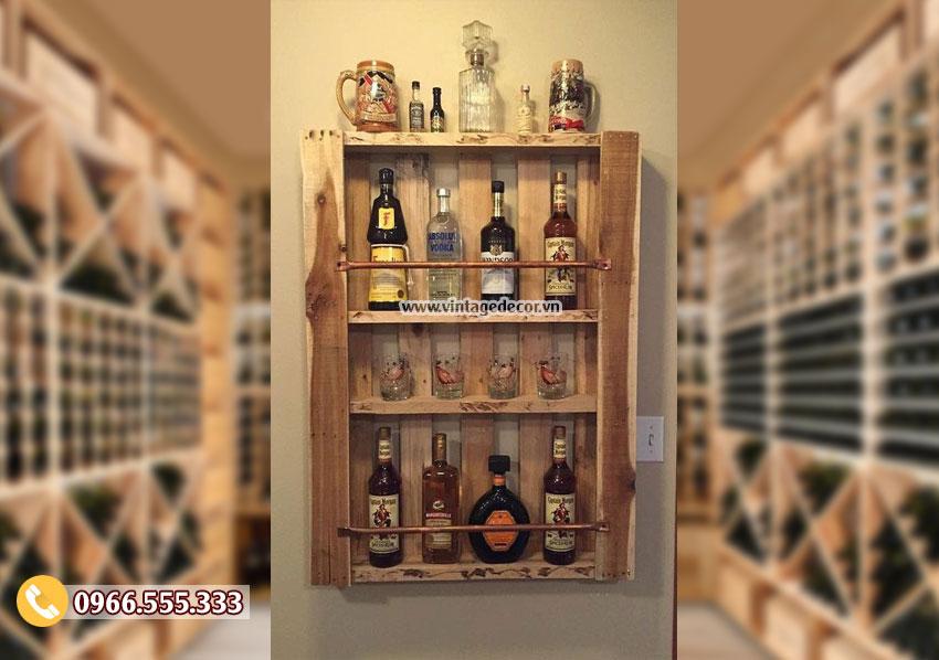 Mẫu kệ tủ để rượu trưng bài KR84
