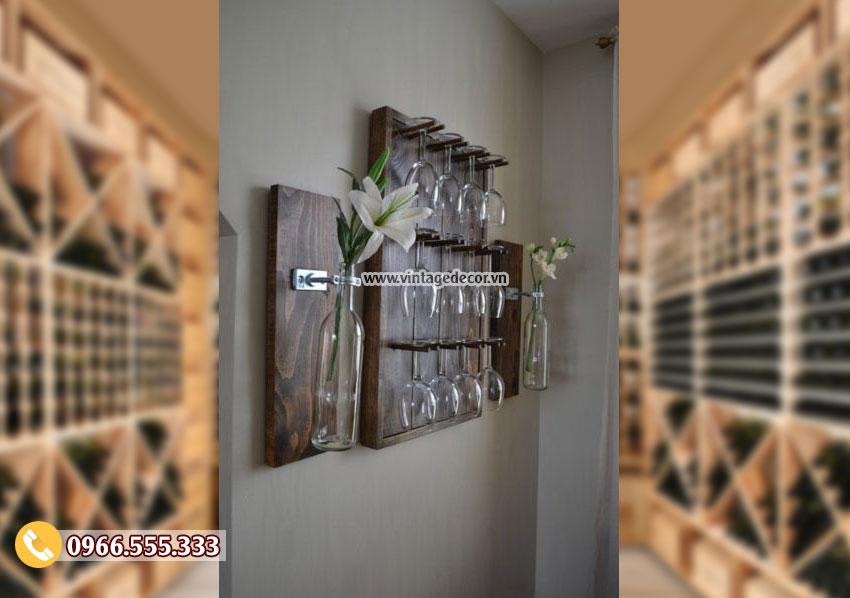 Mẫu kệ treo tường trang trí phòng khách đẹp KR92