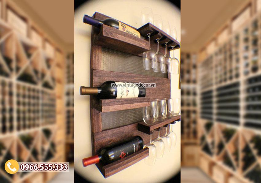 Mẫu kệ rượu treo tường theo phong cách hiện đại KR96