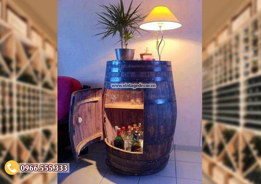 Mẫu thùng rượu trang trí đặt phòng khách KR66