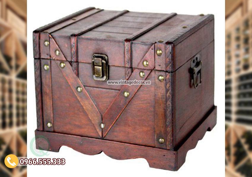 Mẫu hộp rương gỗ thông nhỏ trang trí RG39