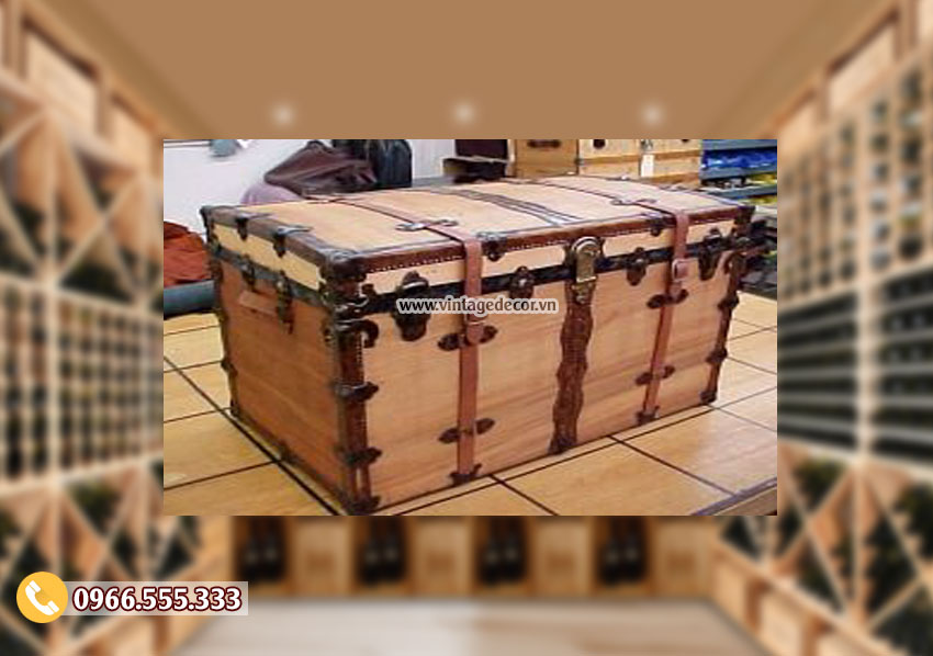 Mẫu rương gỗ sồi để đồ đặt phòng khách RG45