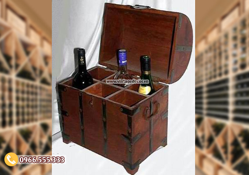 Mẫu hộp rương gỗ đựng rượu phong cách cổ điển RG43