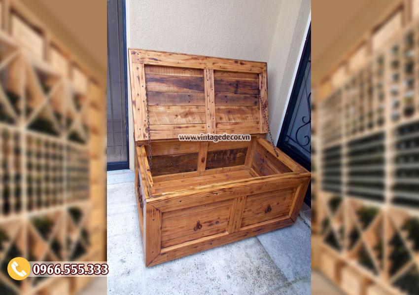 Mẫu rương gỗ đơn giản đượng đồ RG50