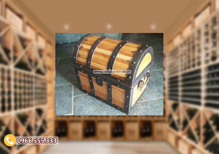 Mẫu hộp rương gỗ thông cổ điển đẹp RG29
