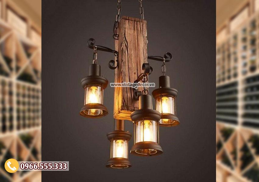 Mẫu đèn gỗ thả trần cổ điển DG001