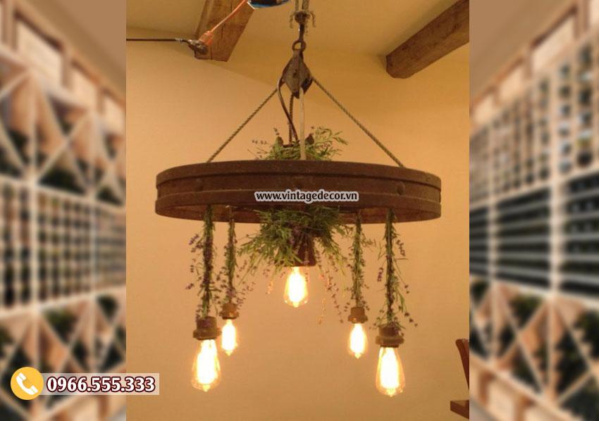 Mẫu đèn trang trí cho trần nhà bằng gỗ DG029
