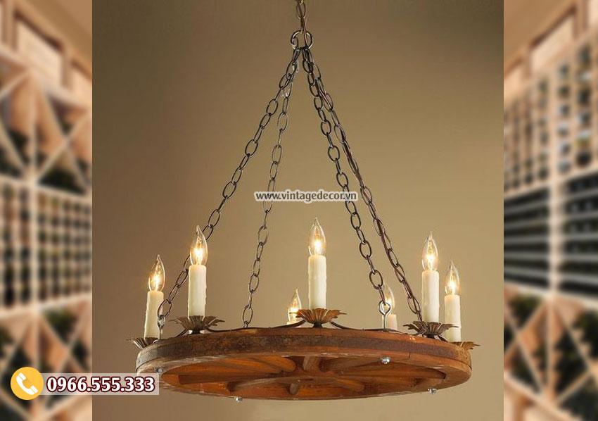 Mẫu đèn treo trần trang trí bằng gỗ DG052