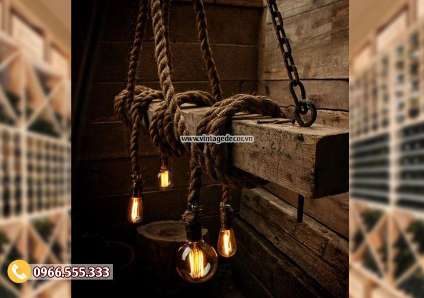 Mẫu đèn trang trí thả trần bằng gỗ DG054