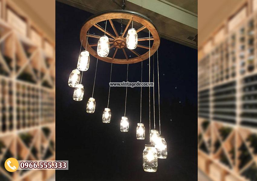 Mẫu đèn gỗ thả trần tại hà nội DG061