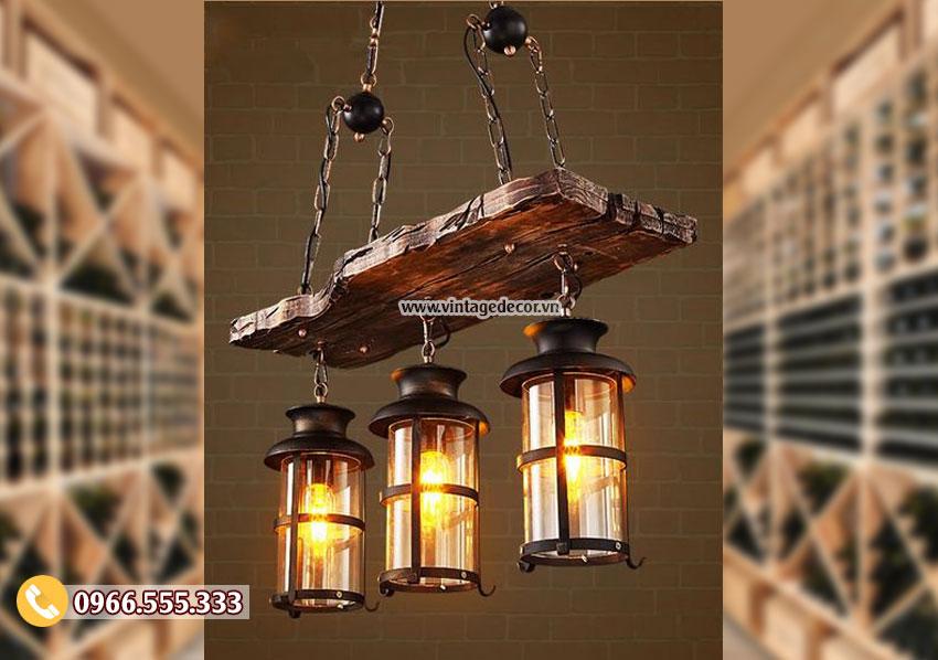 Mẫu đèm gỗ treo trần cổ điển DG063