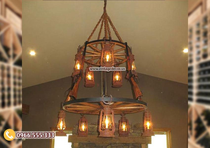 Mẫu đèn gỗ ngược thời gian DG064