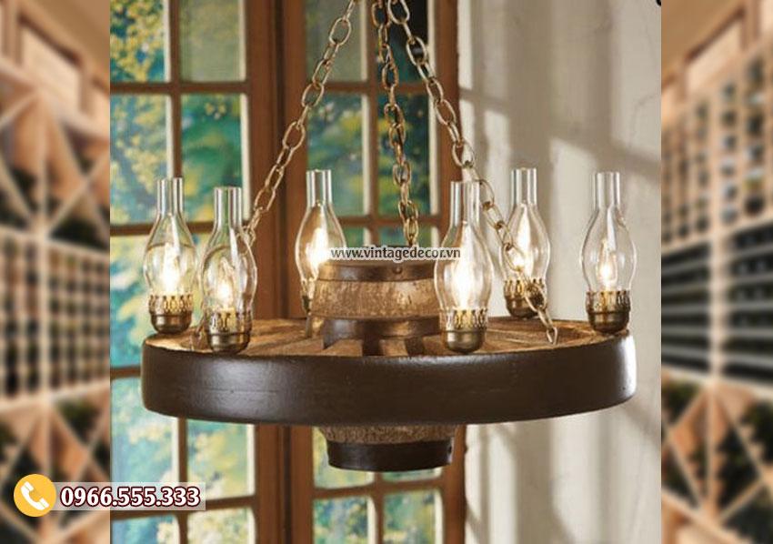 Mẫu đèn gỗ treo trần cổ điển DG065