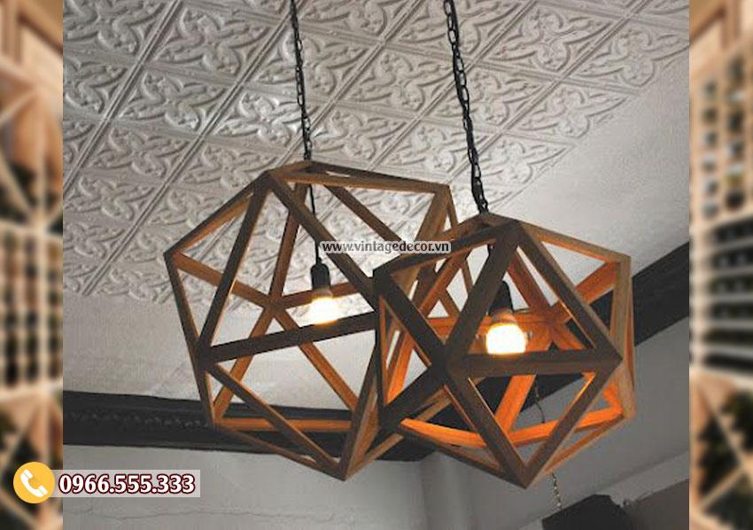 Mẫu đèn gỗ hình cầu trang trí đẹp DG076