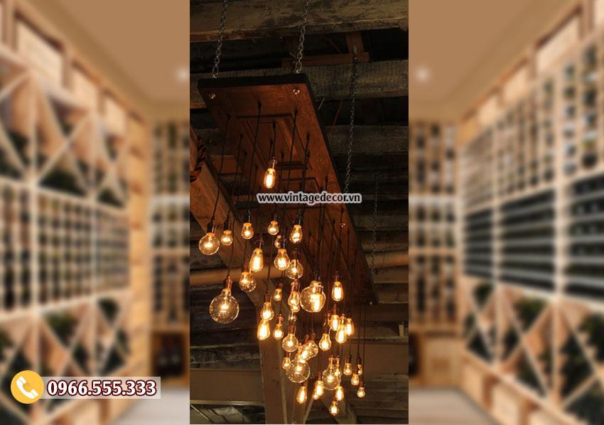 Mẫu đèn gỗ treo trần trang trí phòng DG077