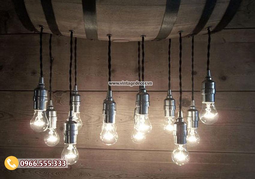 Mẫu đèn thùng trống gỗthả trần DG080