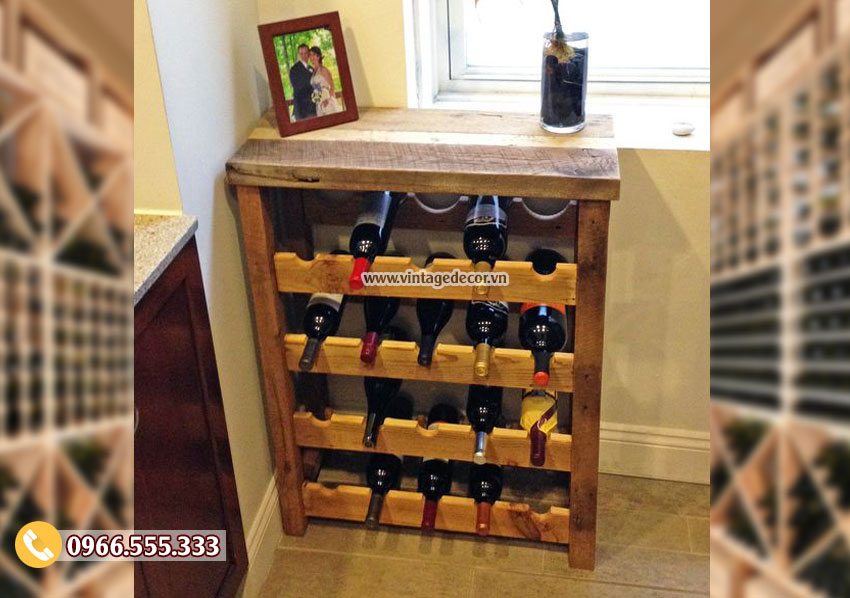 Mẫu kệ tủ rượu vang gỗ TBR151