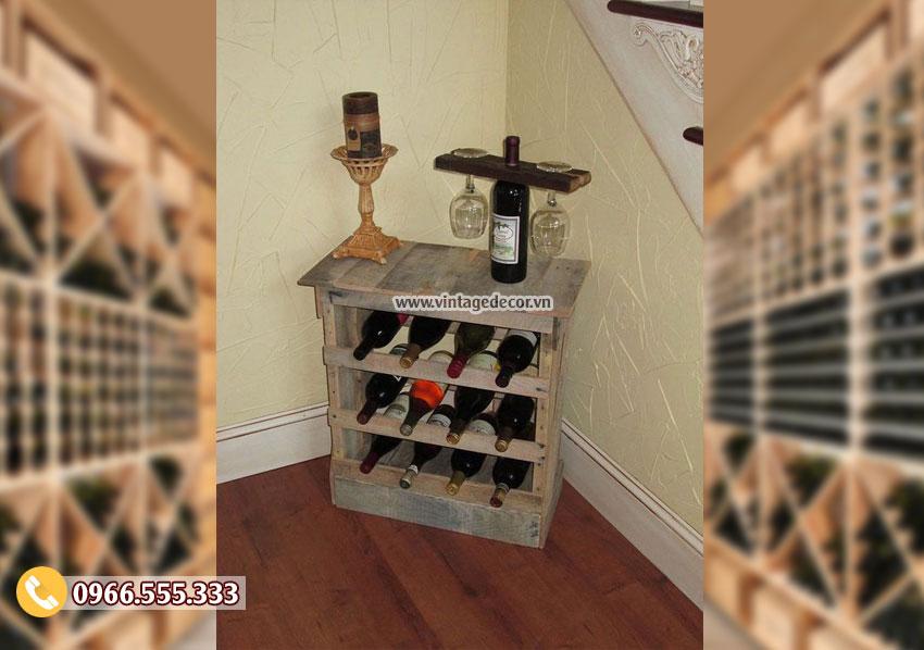 Mẫu kệ tủ rượu vang đặt góc tường TBR172