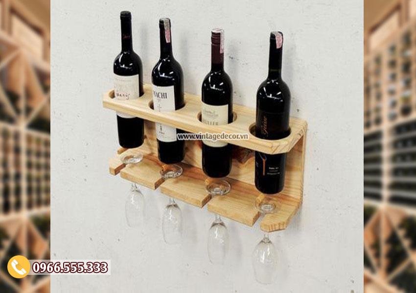 Mẫu kệ rượu vang gỗ treo tường chắc chắn TBR165