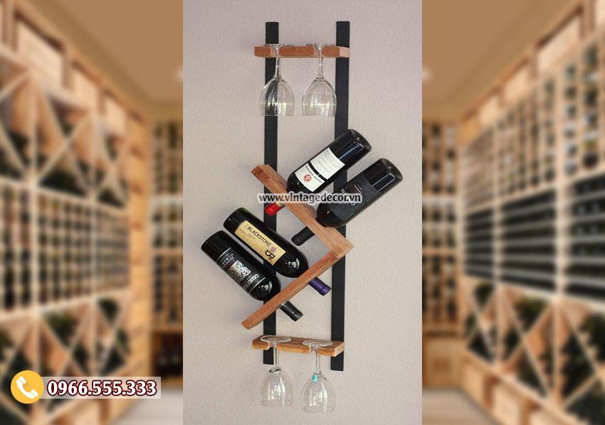 Mẫu kệ rượu vang đẹp đặt phòng khách TBR171