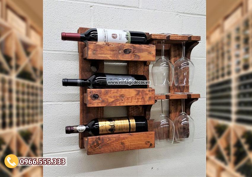 Mẫu kệ rượu vang gỗ treo tường TBR187