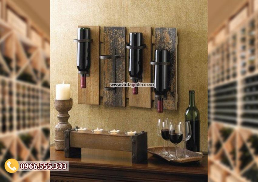 Mẫu kệ rượu vang treo tường cổ điển TBR176